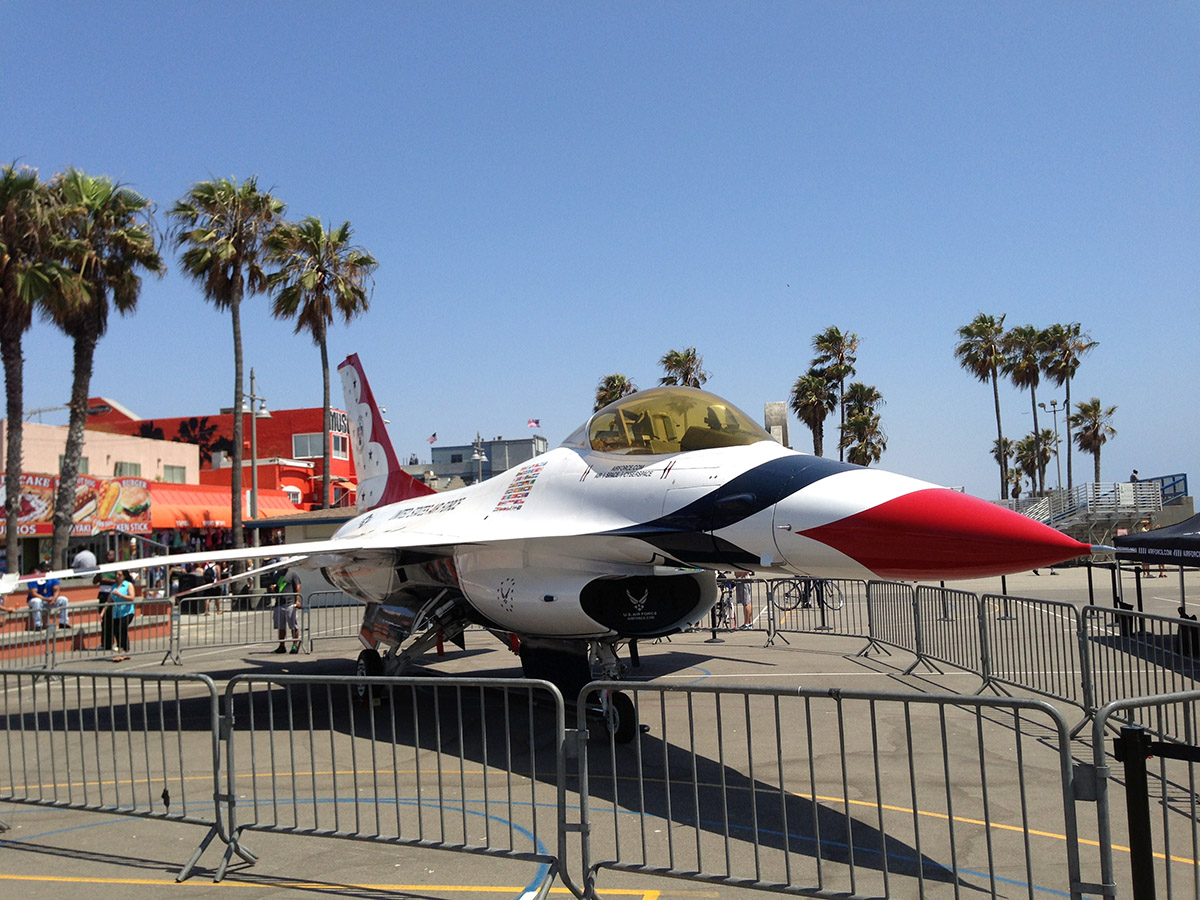 A Real F-16 At Muscle Beach!