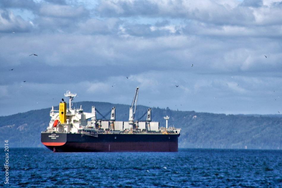 Ship In The Harbor In Astoria Oregon