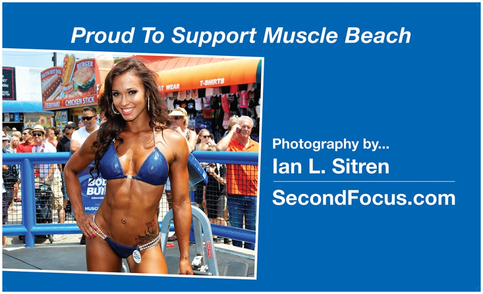 Muscle Beach banner designed by Dennis Johnson. Photograph of Stephanie Lugo.