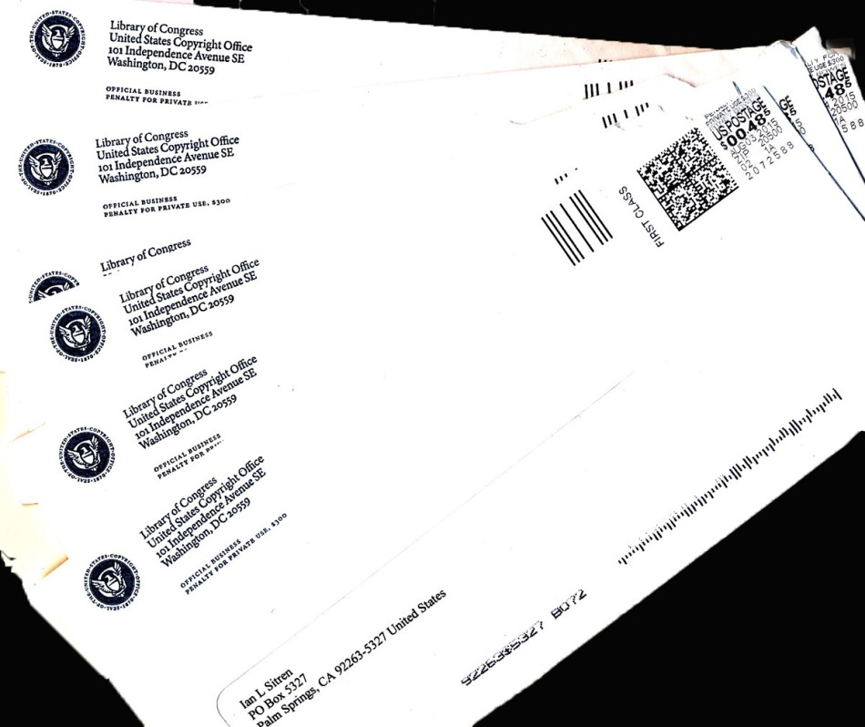 Registered Copyright Certificates Envelopes