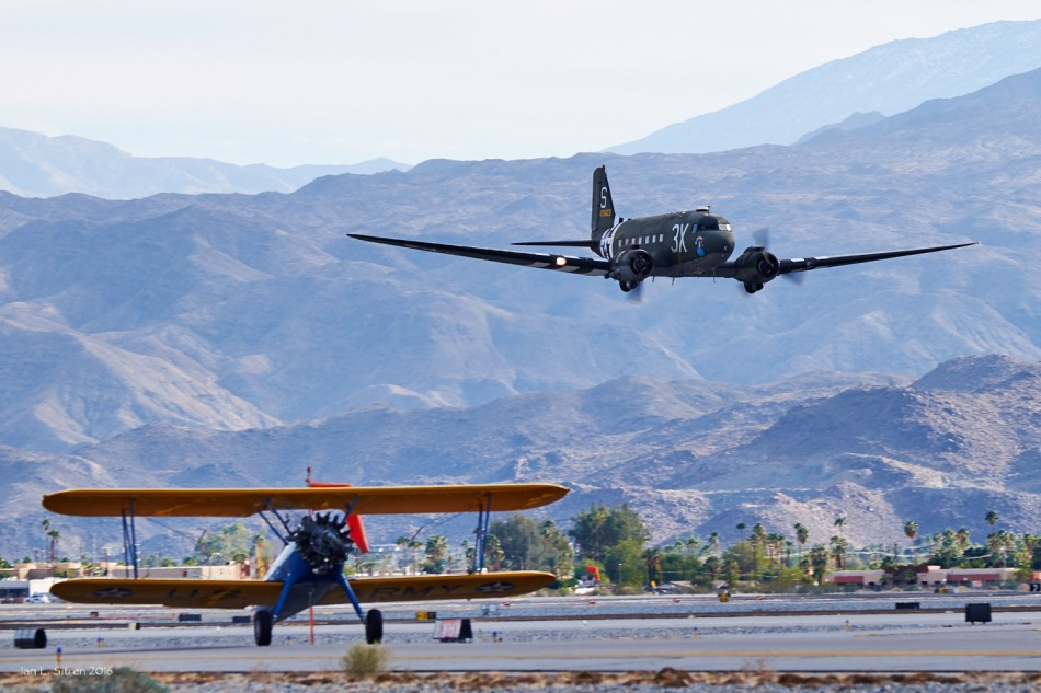 "C-47 ""What's Up Doc?"" Flyby Stearman On The Ground"