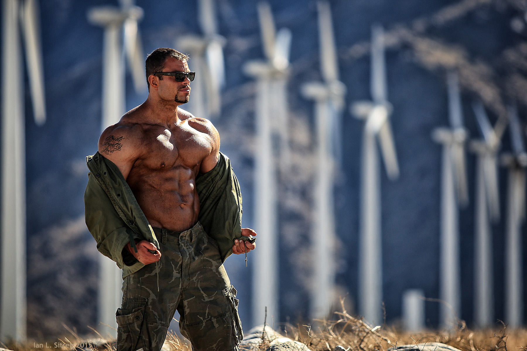 Bodybuilder Daniel Hill in at the windmills Palm Springs California