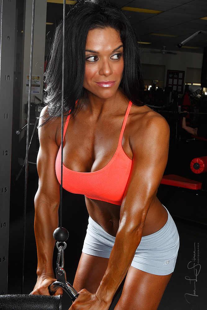 I think Fitness Model Angela Segovia looks really good doing triceps during our photo shoot! What do you think?