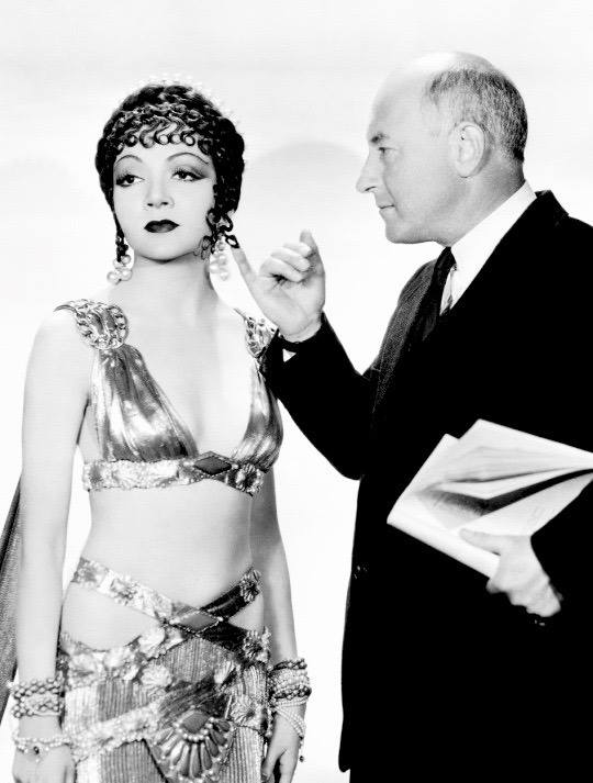 Claudette Colbert and Cecil B DeMille 1934